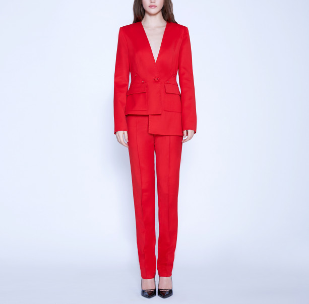 Asymmetric suit with buttons - 6