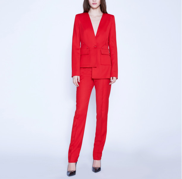 Asymmetric suit with buttons - 5