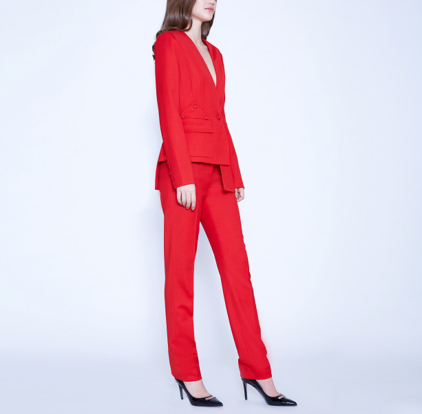 Asymmetric suit with buttons - 4
