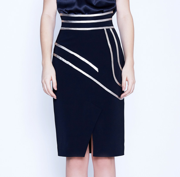 Pencil skirt with gold lines - 2