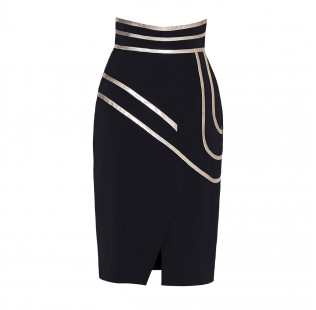 Pencil skirt with gold lines small - 1